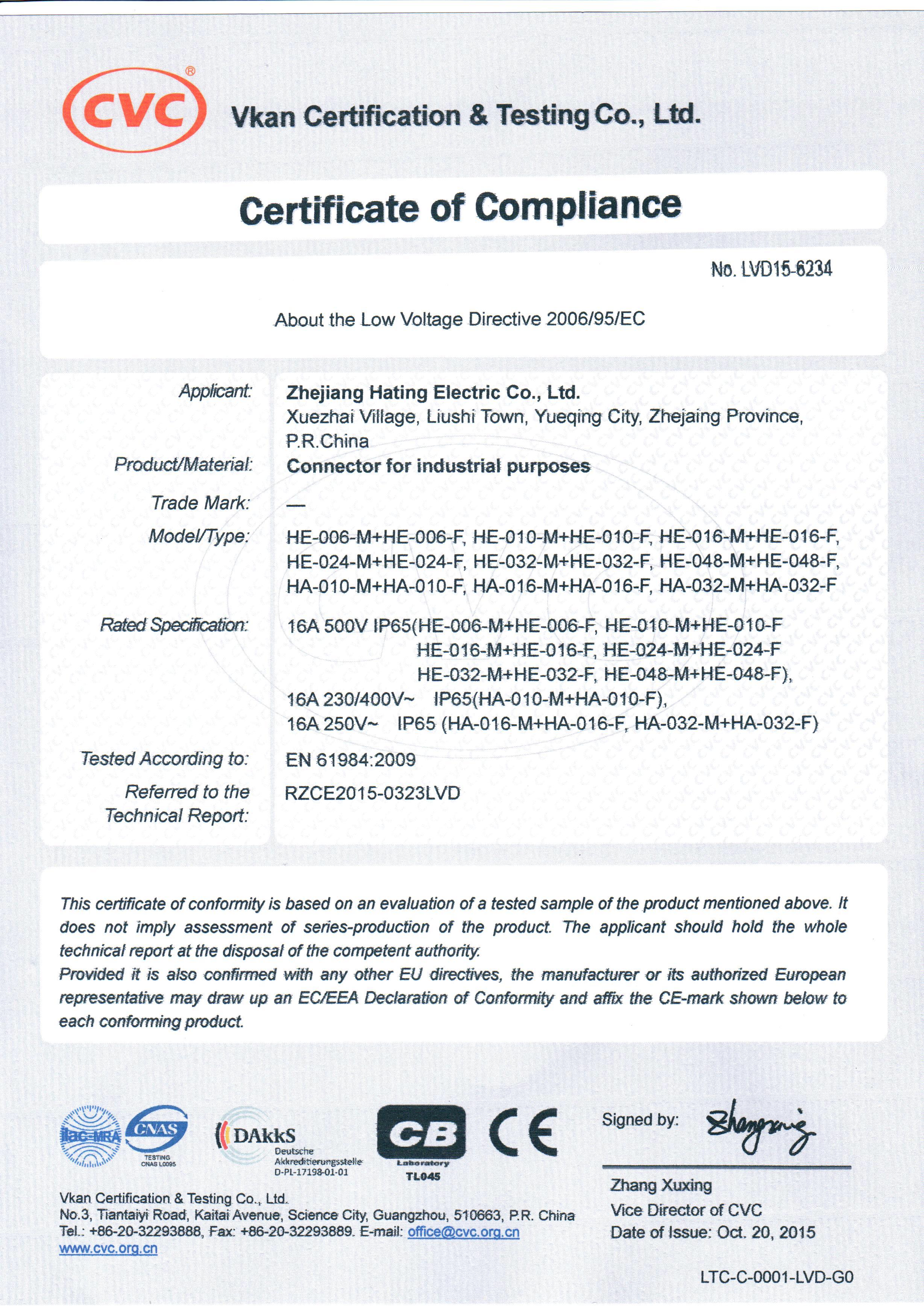 Certificate zhejiang haoke electric co ltd ce certificate 1betcityfo Image collections